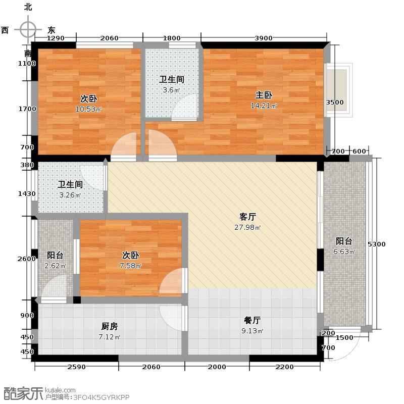 泽科港城国际78.95㎡一期7/8号楼标准层7/8号房户型3室1厅2卫1厨