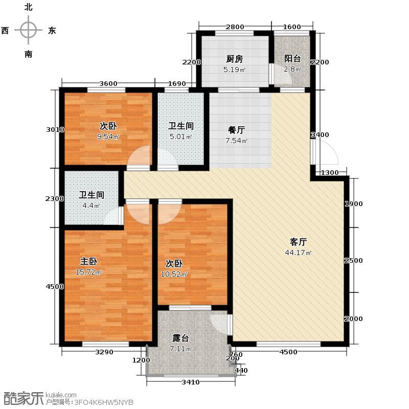 银川奥林匹克花园116.95㎡B2户型3室2厅2卫