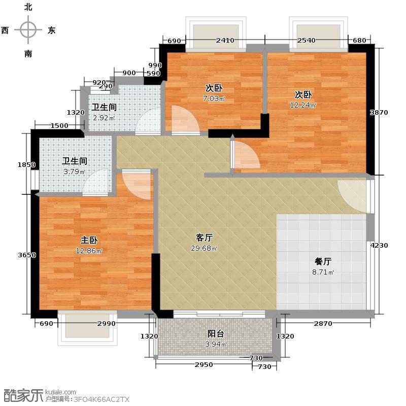 水韵翔庭105.12㎡B栋标准层03东南朝向户型3室2厅2卫
