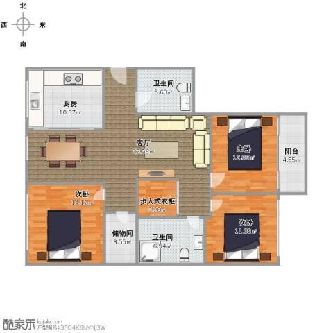 兴和雅苑3室1厅2卫1厨142.00㎡户型图