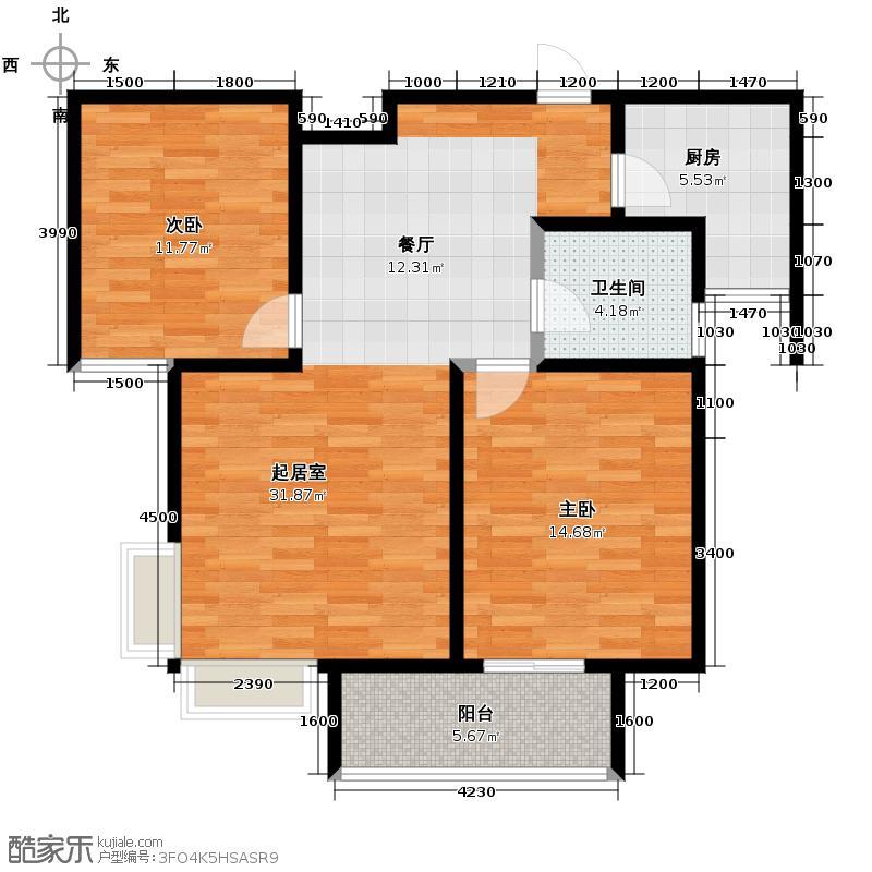 海河大道宽景公寓82.75㎡18号楼2门标准02户型10室