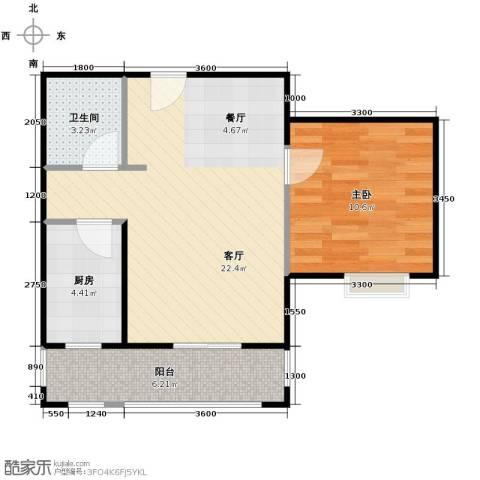4号线孔雀大卫城1室1厅1卫1厨60.00㎡户型图