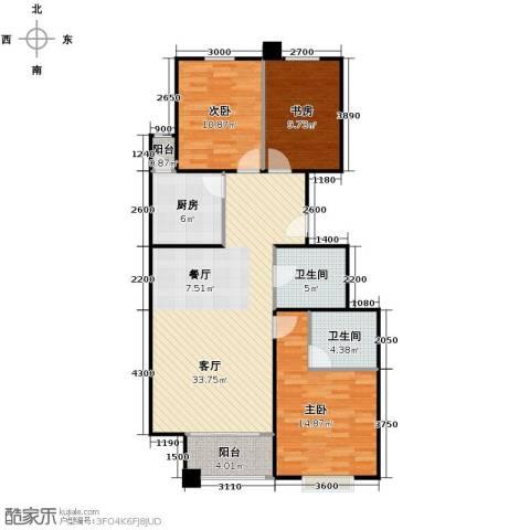 4号线孔雀大卫城3室1厅2卫1厨135.00㎡户型图