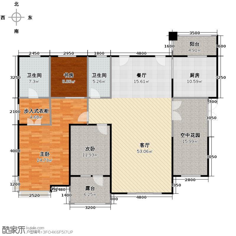 中海国际社区190.00㎡学府6号地1、2号楼平层福F1户型3室2厅2卫