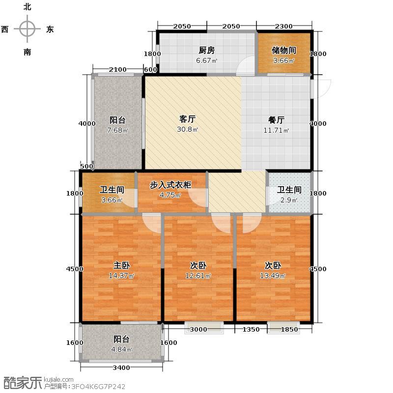 龙祥御湖135.01㎡图为A户型3室2厅2卫