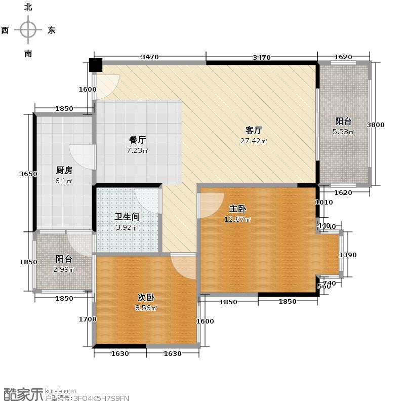 爱加欧郡80.00㎡格林6栋2栋5号房户型2室2厅1卫
