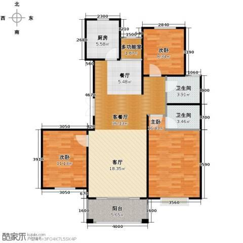 广泰瑞景城3室2厅2卫0厨124.00㎡户型图