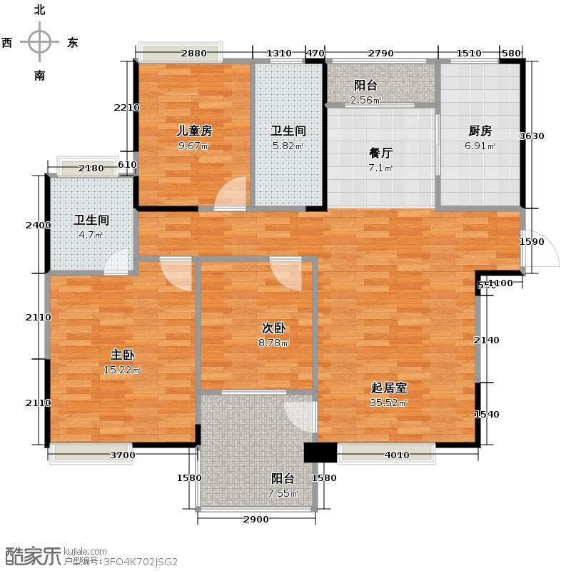 东岸城邦118.65㎡南栋B3户型3室2厅2卫