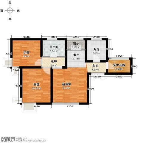 天地源津九轩2室2厅1卫0厨88.00㎡户型图