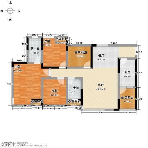 中凯翠海朗园3室1厅2卫1厨142.00㎡户型图