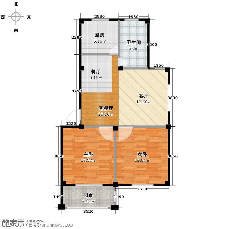 东海明园78.28㎡2#楼01户型2室2厅1卫