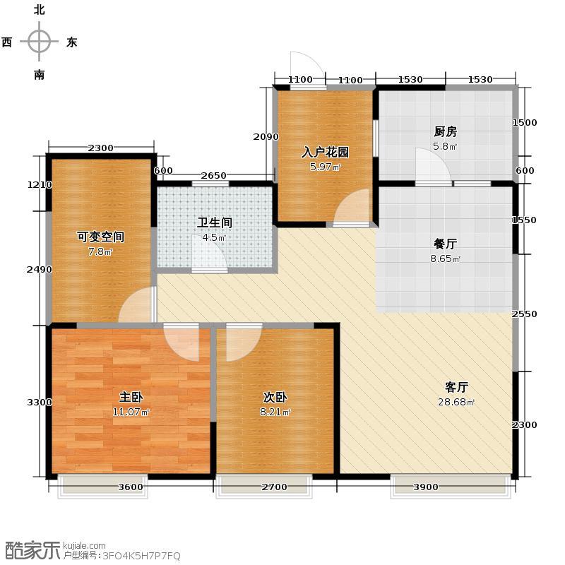 瑞升望江橡树林77.71㎡二期2栋B5户型2室2厅1卫
