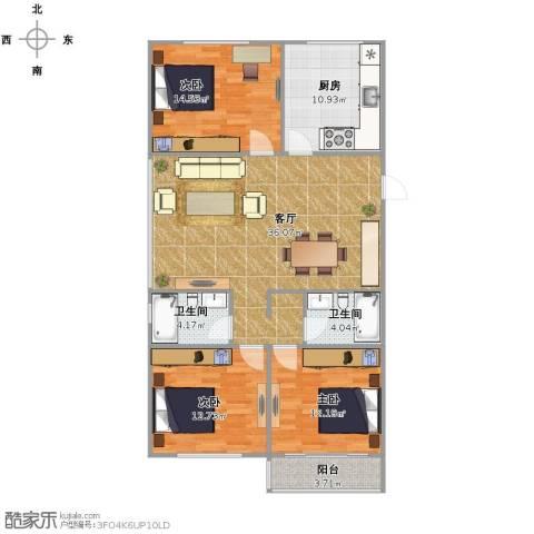 东新园3室1厅2卫1厨132.00㎡户型图