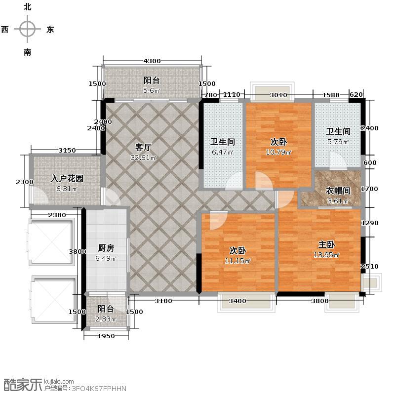 尚上名筑126.00㎡A3栋04单位户型2室2厅2卫
