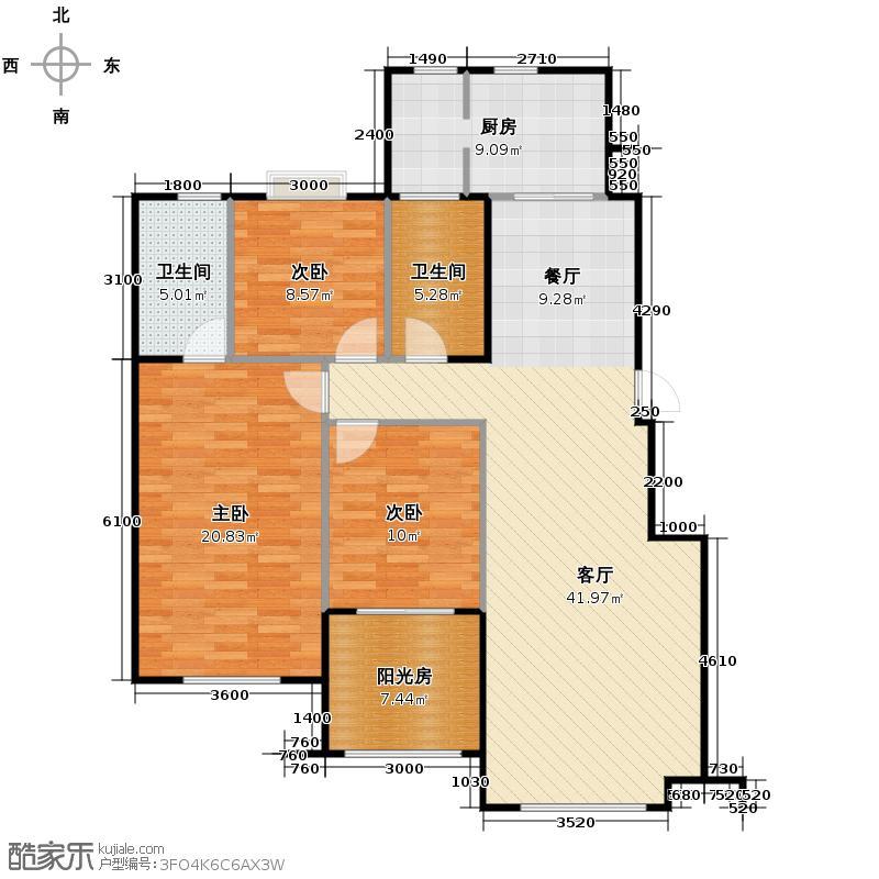 中海寰宇天下130.00㎡G1小高层户型3室2厅2卫
