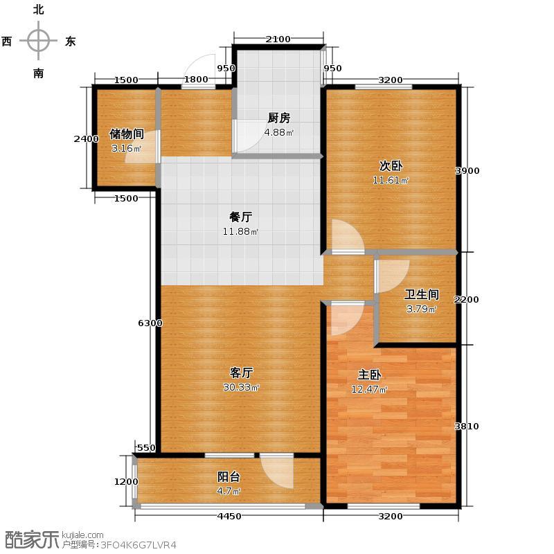 新加坡城91.00㎡B3户型2室2厅1卫