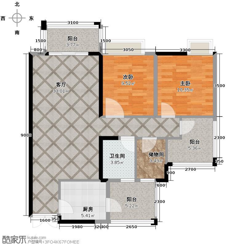 华润中央公园82.50㎡二期4号楼8-28层、30-31层J1户型2室1厅1卫1厨