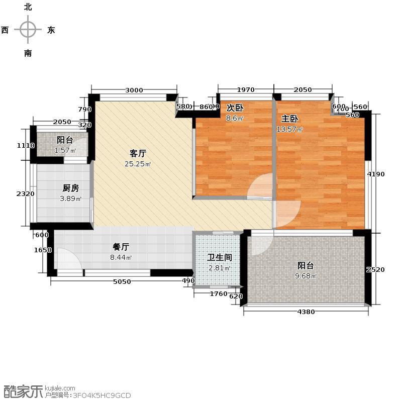 华宇楠苑75.83㎡2栋2-10层A户型2室1厅1卫1厨