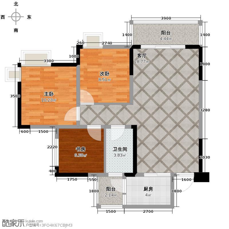 中亿阳明山水83.00㎡13号楼1/2号房户型3室2厅1卫