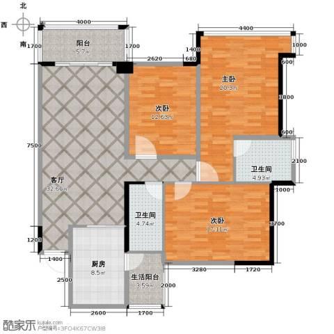 雅居乐御宾府3室1厅2卫1厨119.00㎡户型图