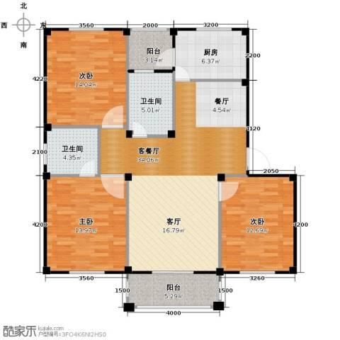 东海明园3室2厅2卫0厨115.00㎡户型图