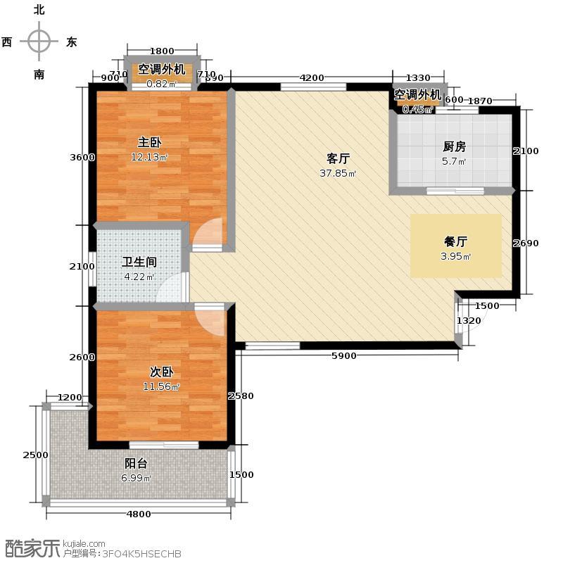 锦湖金利花园102.64㎡一期B户型2室1厅1卫1厨