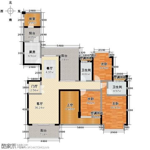 益阳御景东方3室2厅2卫0厨137.00㎡户型图