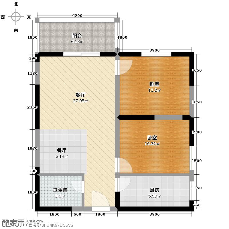 天伦御城龙脉88.24㎡3-11大开间客厅方正实用户型10室
