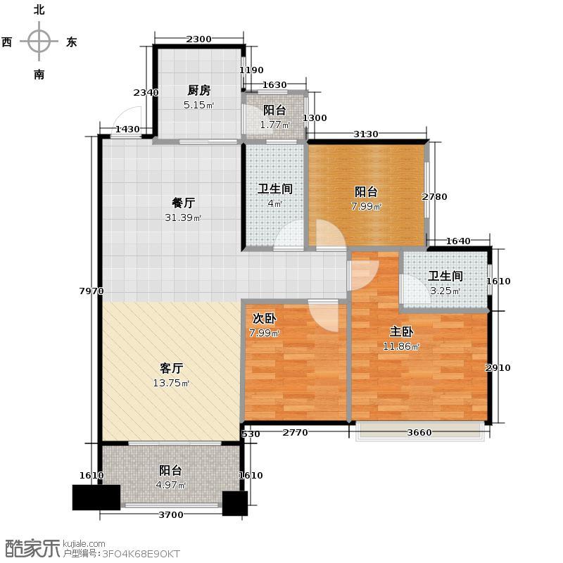 天昌东盟中央城88.70㎡A6#平层06户型3室2厅2卫