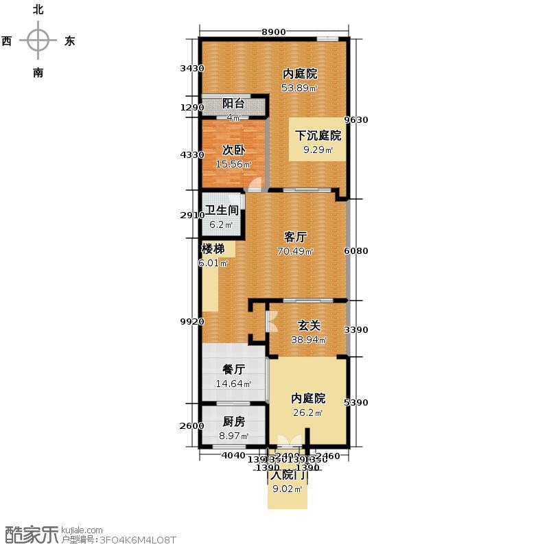 建业生态新城218.02㎡汤泉别院D一层户型4室2厅4卫