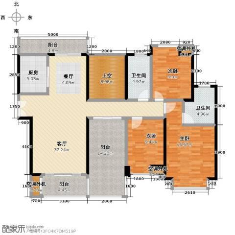 益阳御景东方3室2厅2卫0厨130.00㎡户型图