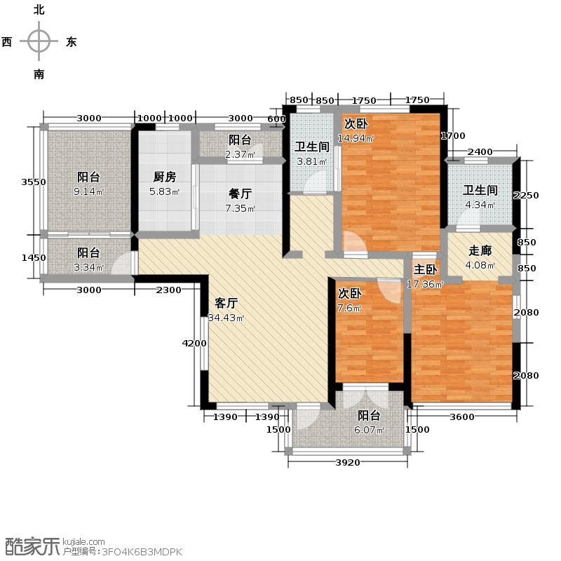 复地东湖国际128.33㎡M5-1户型3室2厅2卫