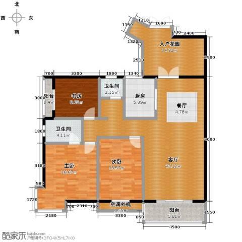 汇城上筑3室1厅2卫1厨132.75㎡户型图