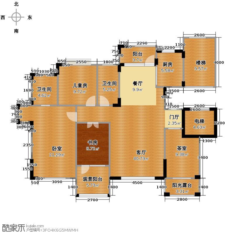 九洲湾景汇148.38㎡A64层2-4-2花庭洋房户型2室1厅2卫1厨