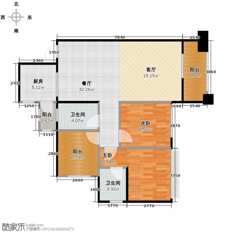 天昌东盟中央城88.50㎡A6#平层05户型3室2厅2卫