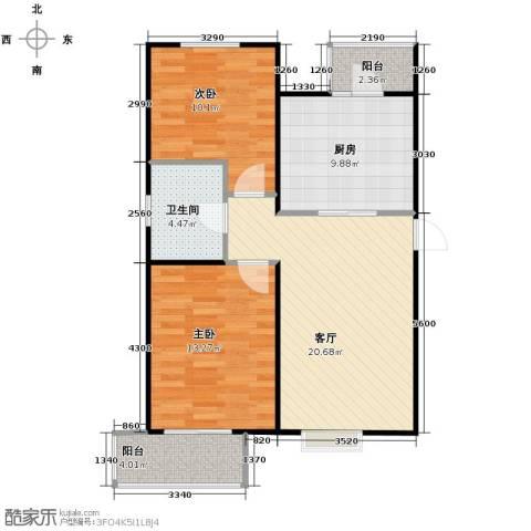 滨海智谛山2室2厅1卫0厨96.00㎡户型图