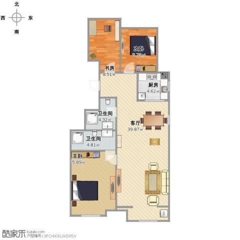 万科城3室1厅2卫1厨117.00㎡户型图