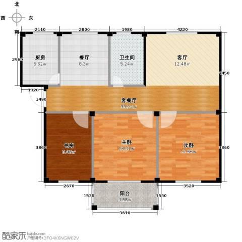 东海明园3室2厅1卫0厨98.00㎡户型图