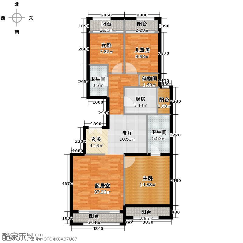 龙山华府119.17㎡E1户型3室2厅2卫