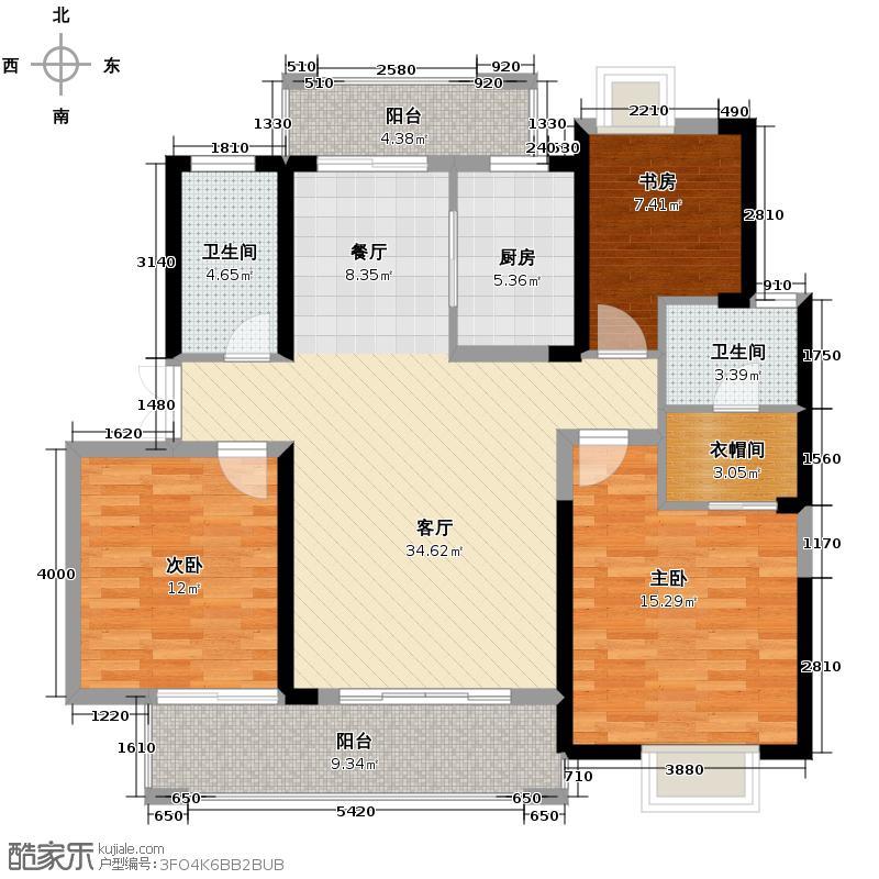 宏泰世纪滨江134.50㎡J2户型3室2厅2卫