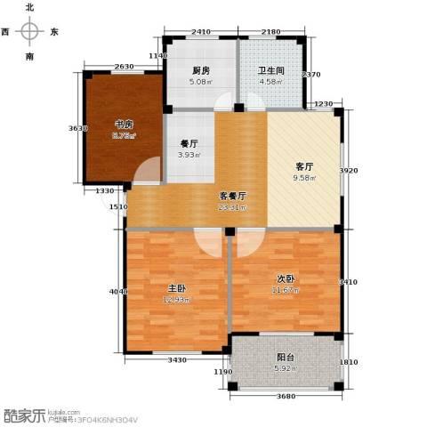 东海明园3室2厅1卫0厨84.00㎡户型图