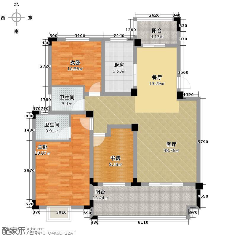 北环阳光花园125.39㎡B户型3室2厅2卫