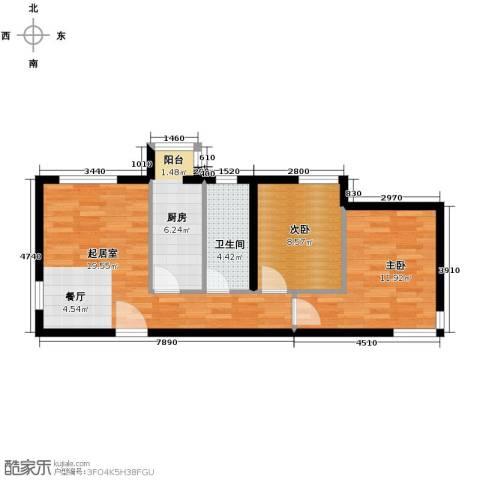 天和林溪2室2厅1卫0厨70.00㎡户型图