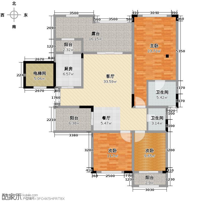 蓝溪谷地142.46㎡尚郡一期37/38栋第5层B户型3室1厅2卫1厨