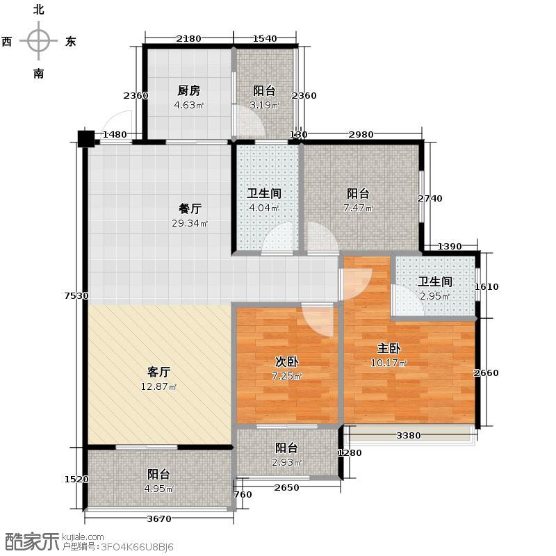 天昌东盟中央城88.72㎡A6栋06户型3室2厅2卫