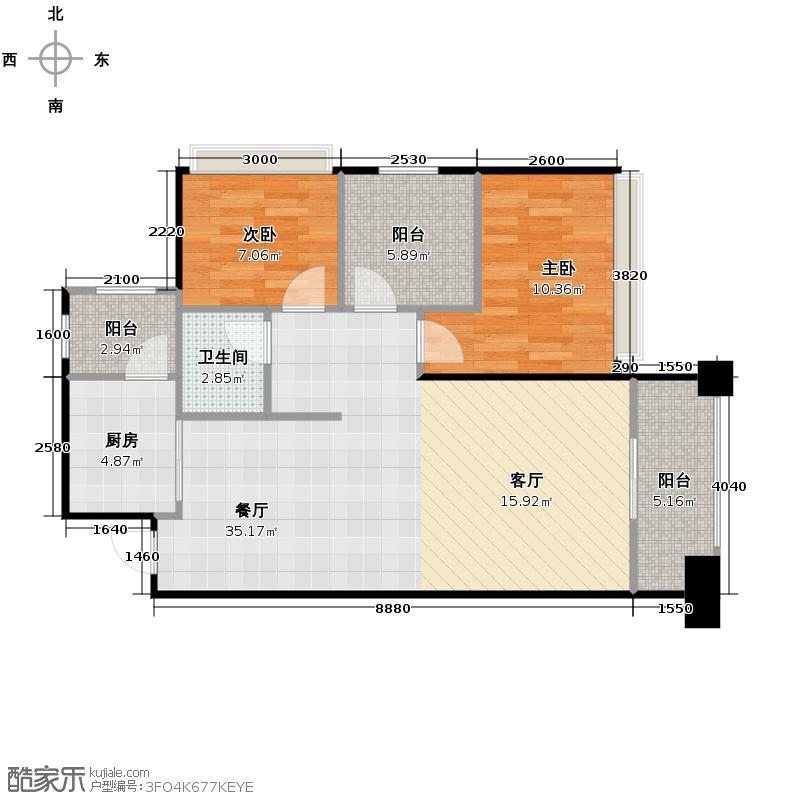 天昌东盟中央城83.48㎡B13#02户型3室2厅1卫