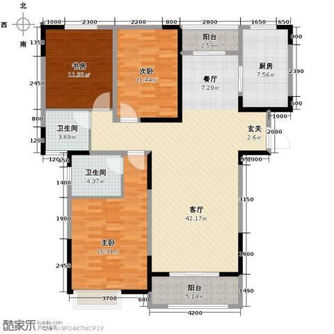 金大地英伦联邦3室2厅2卫0厨140.00㎡户型图