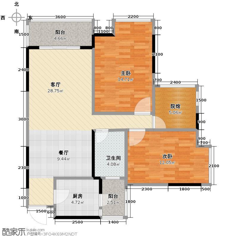 东原D7区74.88㎡一期1号楼标准G户型2室2厅1卫