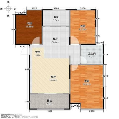 信华・观澜盛世3室2厅1卫0厨117.00㎡户型图