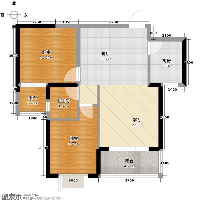 恒祥豪苑72.21㎡2号楼二居户型2室2厅1卫